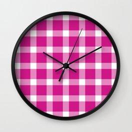 Plaid Hot Pink Wall Clock