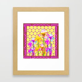 FUCHSIA-YELLOW IRIS GARDEN DESIGNS Framed Art Print