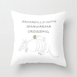 ARMADILLO WITH SHAWARMA CROSSING Throw Pillow