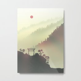 Red sunset in the Japan mountains Metal Print