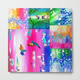 Hummingbird Collage Metal Print