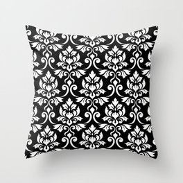 Feuille Damask Pattern White on Black Throw Pillow