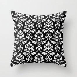 Feuille Damask Pattern White on Black Throw Pillow