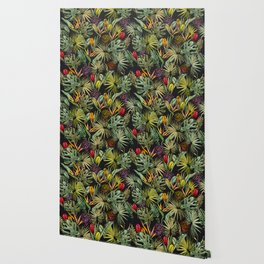 Tropical pattern on black Wallpaper