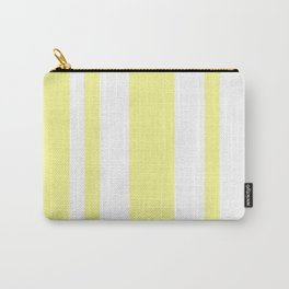 Mixed Vertical Stripes - White and Pastel Yellow Carry-All Pouch