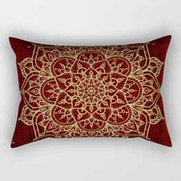 Deep Red & Gold Mandala Rectangular Pillow