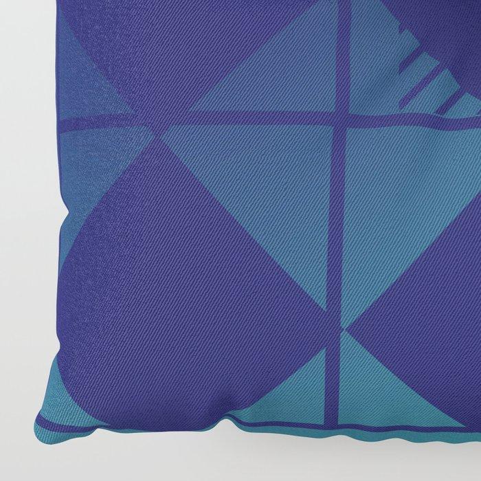 Blue,Diamond Shapes,Square Floor Pillow