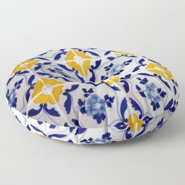 Blue and yellow tile Floor Pillow