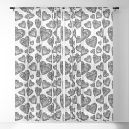 Black and White Faux Jewel Hearts Pattern Sheer Curtain