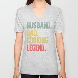 Funny Men Vintage T Shirt Husband Dad Cooking Legend Retro Unisex V-Neck