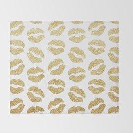 Gold Glitter Lips Throw Blanket
