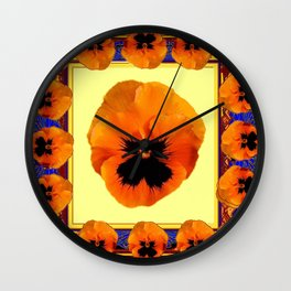 This design is all about the ORANGE PANSIES ON YELLOW COLOR DESIGN ART decor, furnishings, or for th Wall Clock