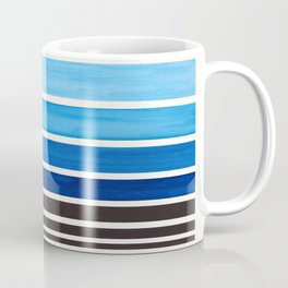 Prussian Blue Minimalist Watercolor Mid Century Staggered Stripes Rothko Color Block Geometric Art Coffee Mug