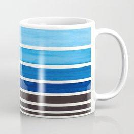 Prussian Blue Minimalist Watercolor Mid Century Staggered Stripes Rothko Color Block Geometric Art Coffee Mug