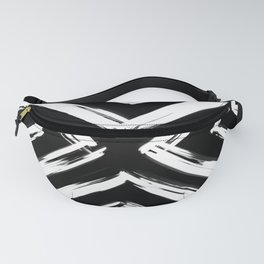 Minimalistic Black and White Paint Brush Triangle Diamond Pattern Fanny Pack