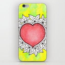 Watercolor Doodle Art | Heart iPhone Skin