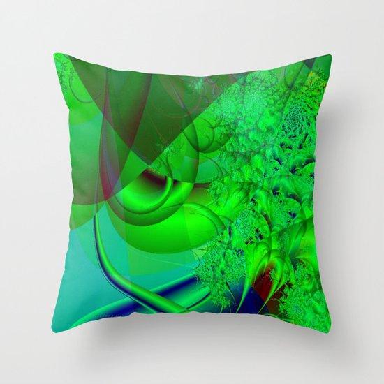 Abstract Green Algae Throw Pillow
