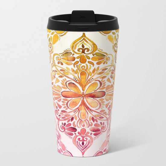 Sunset Art Nouveau Watercolor Doodle Metal Travel Mug