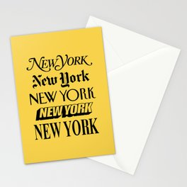New York City Yellow Taxi and Black Typography Poster NYC Stationery Cards