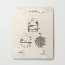 Cover for Milk Cans Vintage Patent Hand Drawing Metal Print