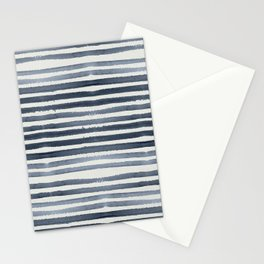 Simply Shibori Stripes Indigo Blue on Lunar Gray Stationery Cards