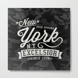 NEW YORK-EXCELSIOR. BLACK CAMO & OFF WHITE Metal Print