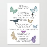 poem Canvas Prints featuring Dream Poem by Zen and Chic