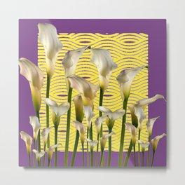Purple-Yellow Calla Lilies Pattern Metal Print