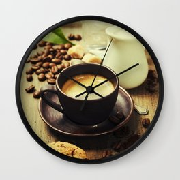 Coffee, milk and cookies on wooden background Wall Clock