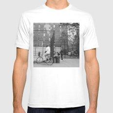 New York Basketball III White Mens Fitted Tee MEDIUM