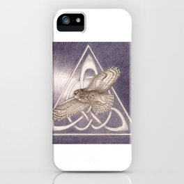 Nuit, the great-horned owl on white iPhone Case