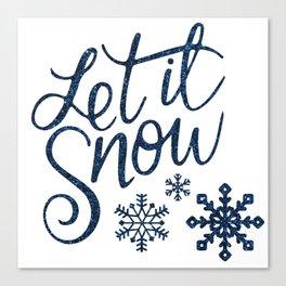 Let It Snow Blue Glitter Typography Winter Canvas Print