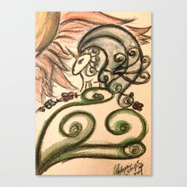 Doodlecorn in Watercolor Canvas Print