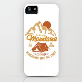 Vintage Retro Rocky Mountains Hiking Camping Gift iPhone Case