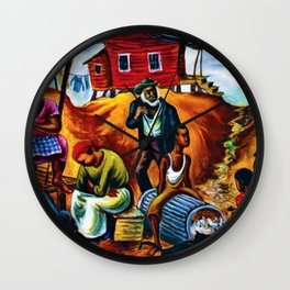 """African American Classical Masterpiece """"Study for the Results of Poor Housing"""" by Hale Woodruff Wall Clock"""