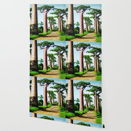 The Disappearing Giant Baobab Trees of Madagascar Landscape Painting Wallpaper