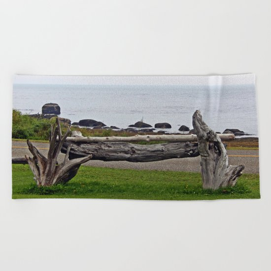 Driftwood Fence and the Sea Beach Towel