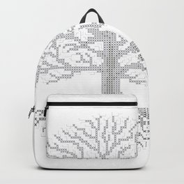 Pixel Art - Cross Stitch Chart - Grey Tree of Life - Backpack