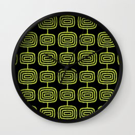 Mid Century Modern Atomic Rings Pattern Black and Chartreuse Wall Clock