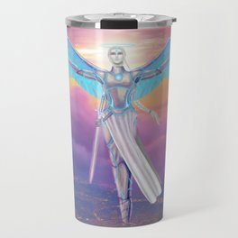 Guardian Angel Flying Above City Travel Mug