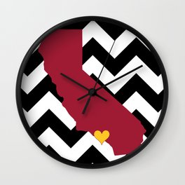 California State Pillow in Cardinal and Gold on Black Chevron Wall Clock