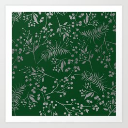 Forest green country chic faux silver floral leaves Art Print