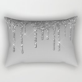 Gray & Silver Glitter Drips Rectangular Pillow