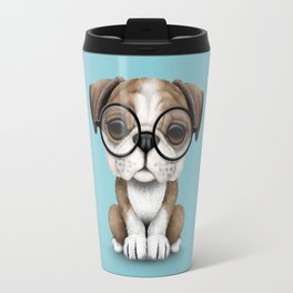 Cute English Bulldog Puppy Wearing Glasses on Blue Travel Mug