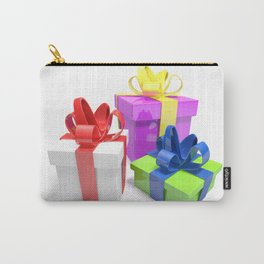 Three gift boxes on white surface - 3D rendering Carry-All Pouch
