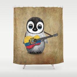 Baby Penguin Playing Ecuadorian Flag Acoustic Guitar Shower Curtain