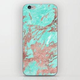 Modern rose gold turquoise white stylish marble iPhone Skin