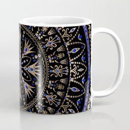 Floral Egyptian Ornament Lapis Lazuli and gold Coffee Mug