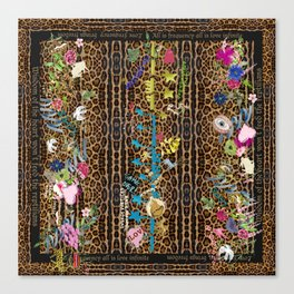 leopard garden vertical Canvas Print
