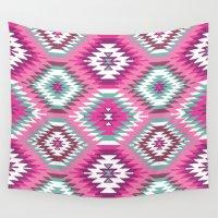 navajo Wall Tapestries featuring Navajo Dreams-Pink by Bohemian Gypsy Jane